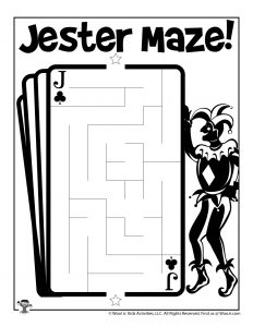 April Fools Jester Maze Activity Page