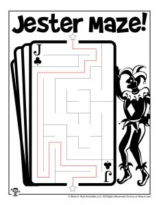 April Fools Jester Maze Activity Page - KEY