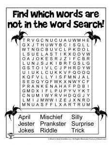 April Fools Kids Word Search Printable