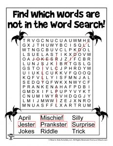April Fools Kids Word Search Printable - KEY