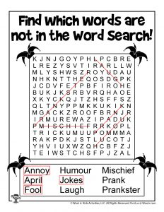 April Fools Word Search Puzzle - ANSWER KEY