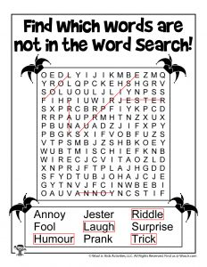 April Fools Activities Word Search - KEY