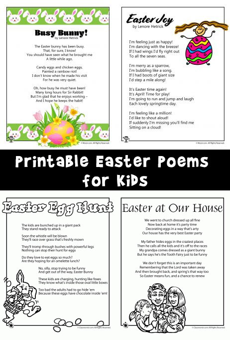 Printable Easter Kids Poems Woo