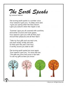 The Earth Speaks Poem for Children