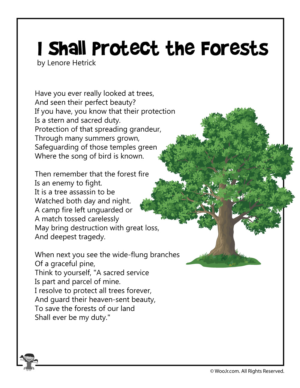 I Shall Protect the Forests Conservation Poem - Woo! Jr. Kids Activities