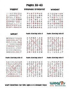 Word Searches For Kids Ages 6 8 Answer Keys Woo Jr