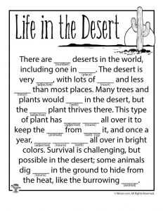 Life in the Desert Parts of Speech Worksheet