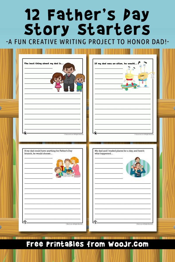 Father's Day Story Starters - A Fun creative writing project to honor dad!