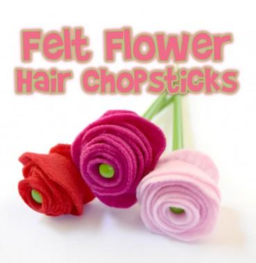 Make Easy Felt Flower Hair Chopsticks or Pencil Toppers