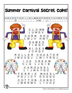 Summer Carnival Words Cryptogram - ANSWER KEY