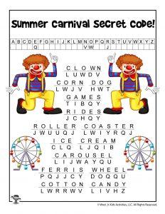 Summer Carnival Words Cryptogram - ANSWER KEY