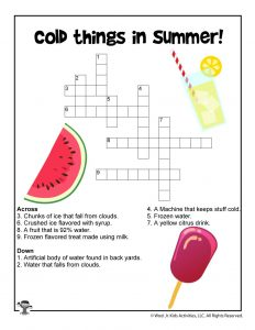 Cold Summer Things Crossword for Children