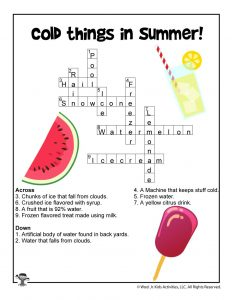 Cold Summer Things Crossword for Children - ANSWER KEY