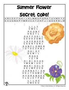 Summer Secret Code Flower Names - ANSWER KEY