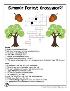 Summer Forest Kids Crossword Printable