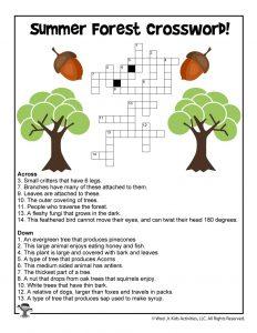 Summer Forest Kids Crossword Printable