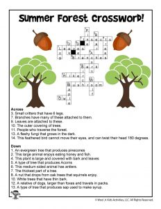 Summer Forest Kids Crossword Printable - ANSWER KEY