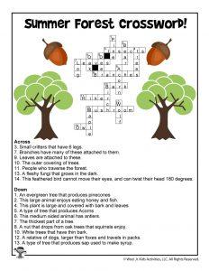 Summer Forest Kids Crossword Printable - ANSWER KEY