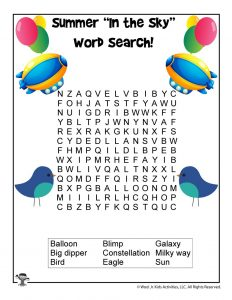 Summer Skies Easy Word Search for Kids