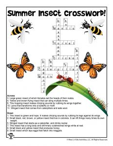 Summer Insects Crossword Puzzle for Kids - ANSWER KEY