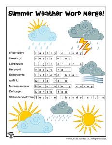Summer Weather Word Puzzle - ANSWER KEY