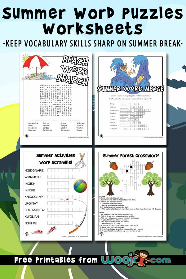Printable Summer Word Puzzles