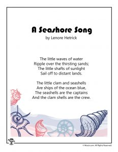 Seashore Song Printable Summer Poem