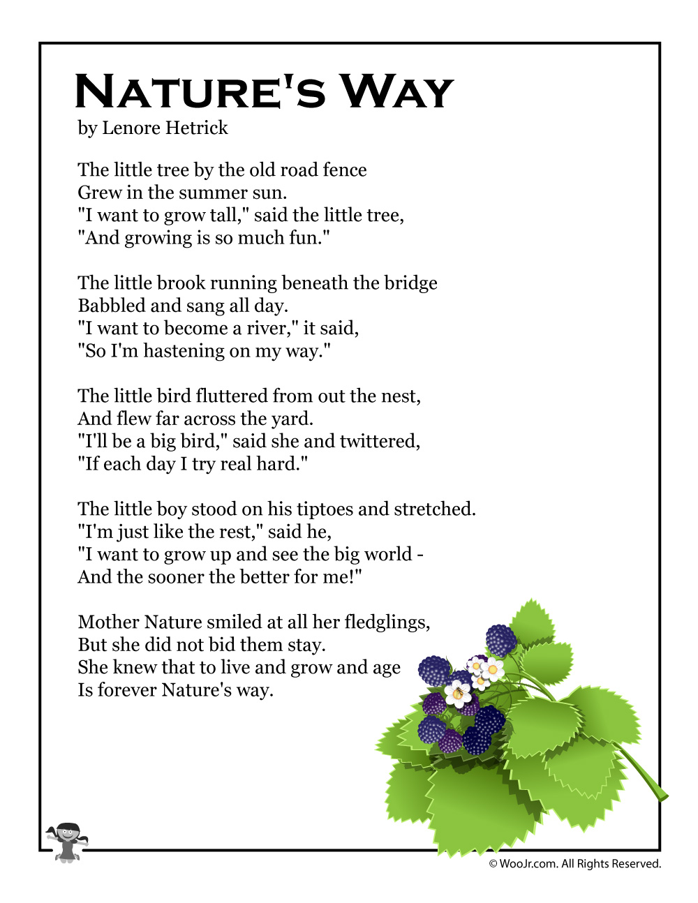 Nature S Way Printable Summer Poem Woo Jr Kids Activities The most beautiful thing in the world that humanity had neglected since ages are the nature. nature s way printable summer poem