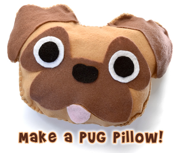 Sew an easy pug pillow!