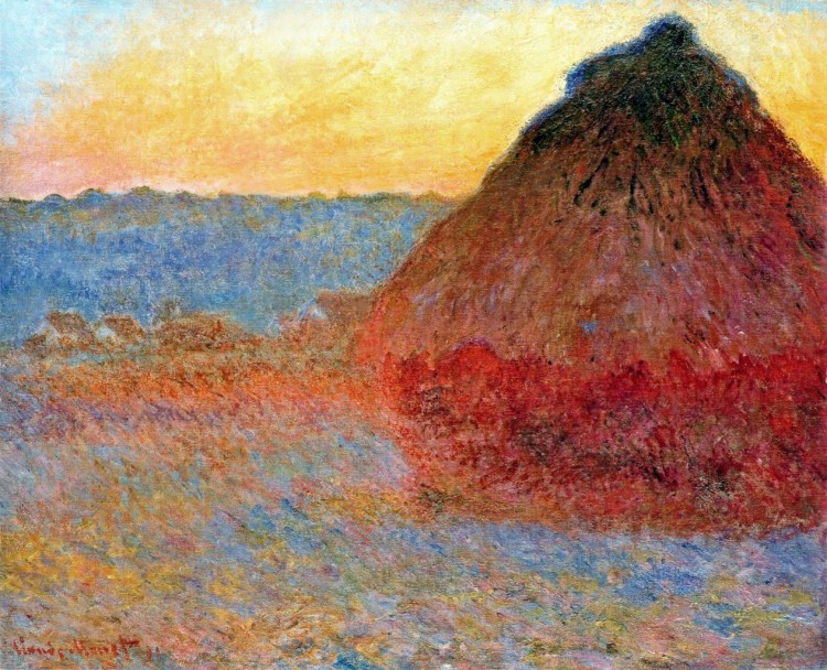 Monet-grainstack-impression-in-pinks-and-blues
