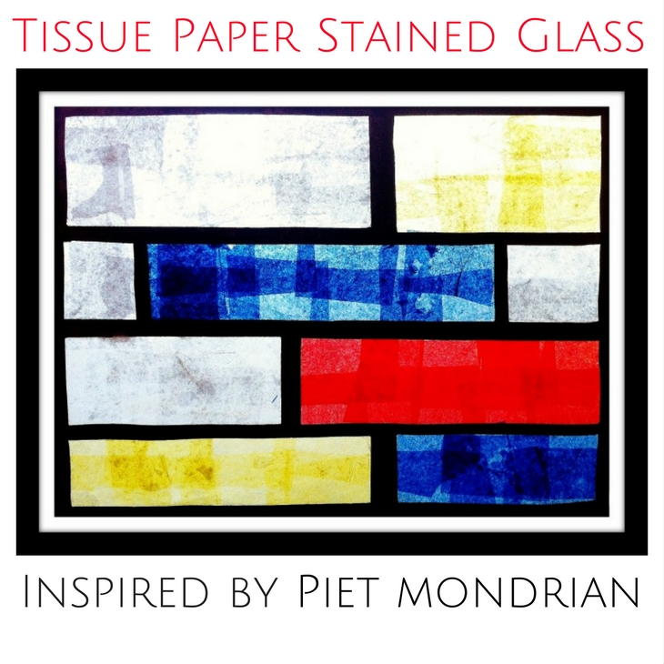 Mondrian Tissue Paper Stained Glass Project for Kids
