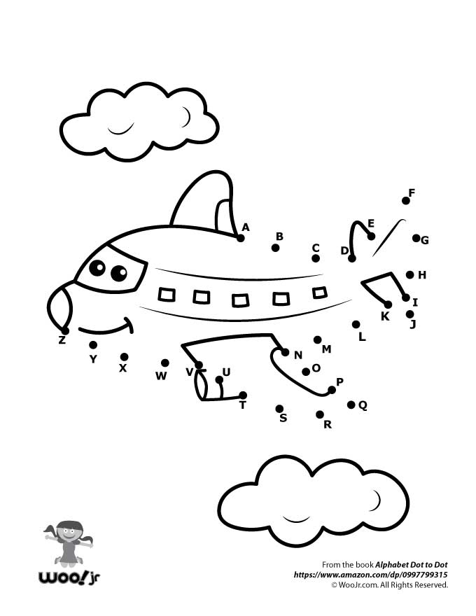 Airplane Dot to Dot Woo Jr Kids Activities – Dot to Dot Worksheets