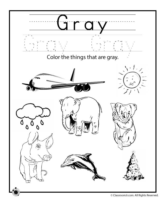 Color gray worksheet woo jr kids activities