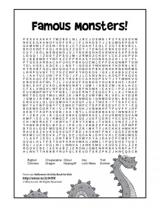 famous monsters halloween word search