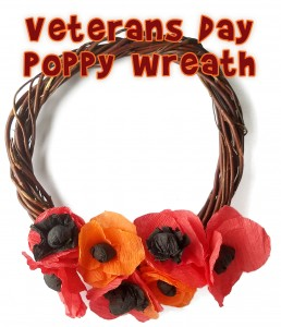 Veteran's Day Kids Craft Poppy Wreath