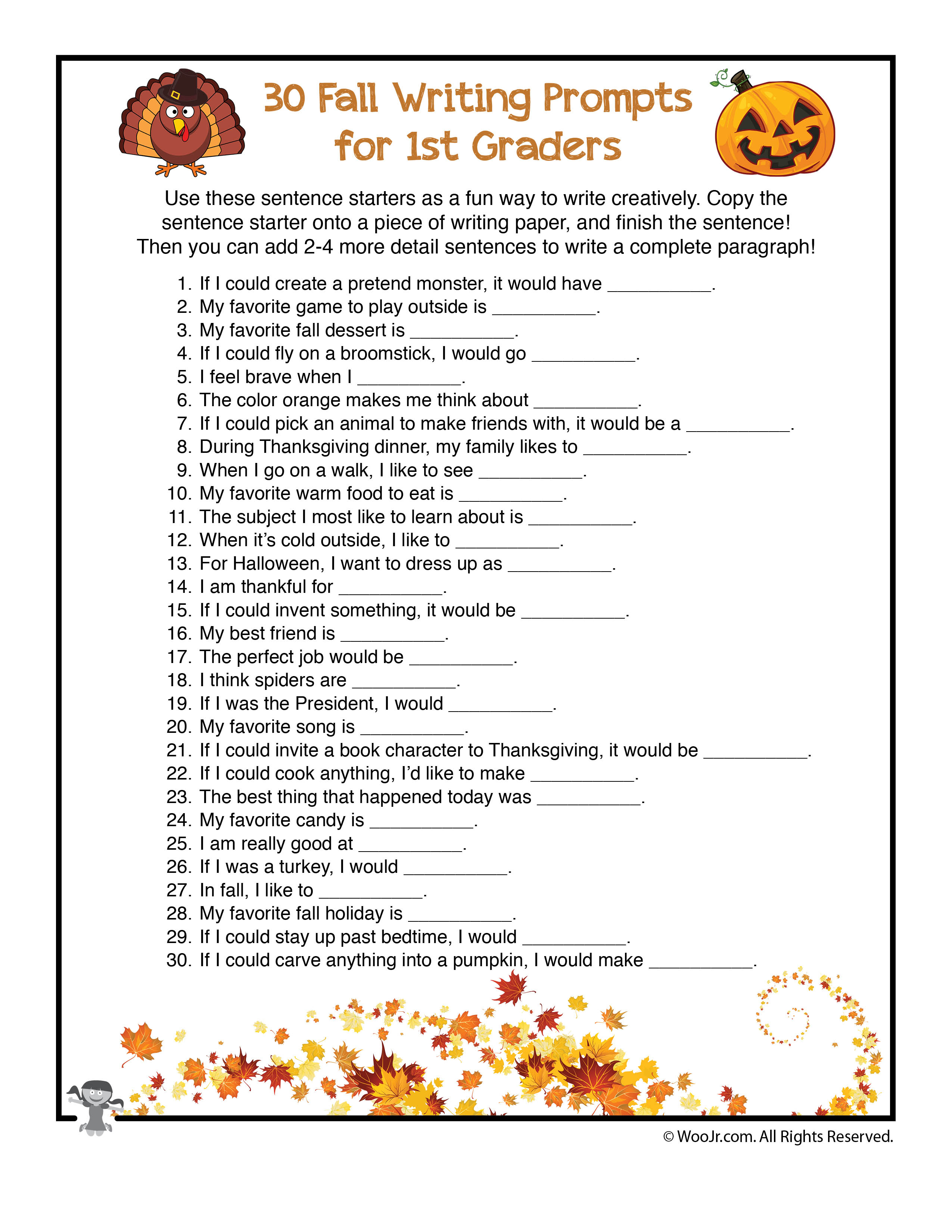 30 Fall Writing Prompts For 1st Graders Woo Jr Kids