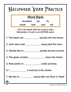 Halloween Verb Practice Worksheet