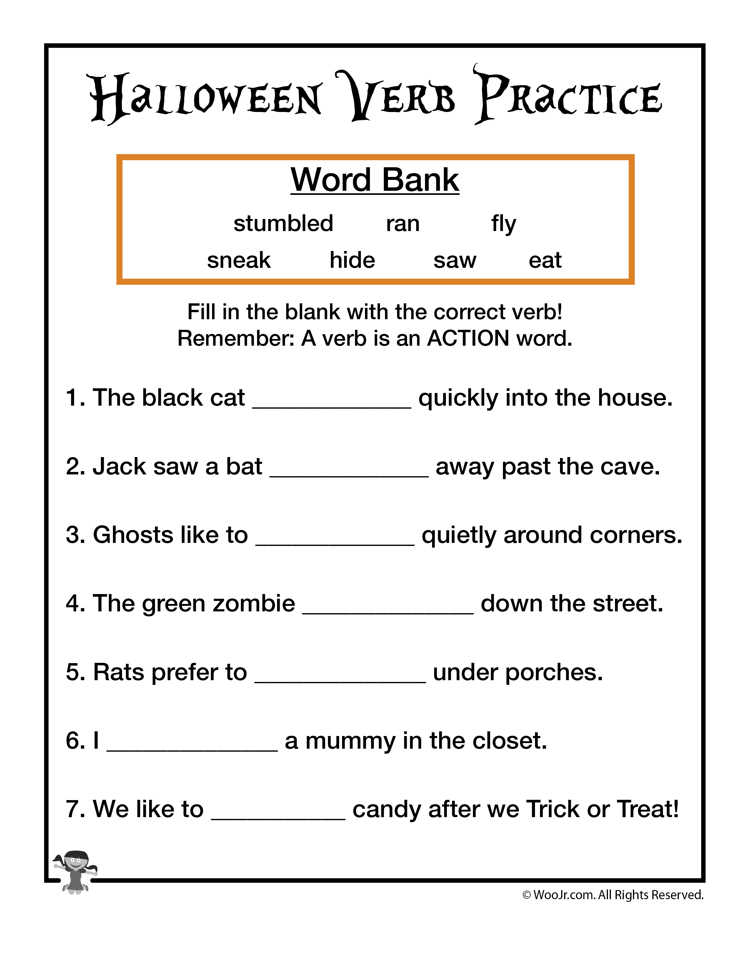 Halloween Verb Practice Worksheet Woo Jr Kids Activities