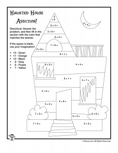 Halloween Addition And Subtraction Worksheets  Woo Jr Kids Activities Haunted House Single Digit Addition Coloring