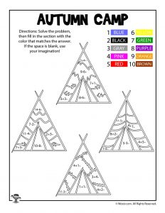 Native Americans Thanksgiving Math Coloring Page
