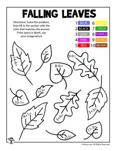 Fall Leaves Math Coloring Page