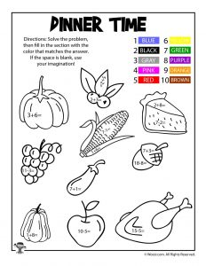 Thanksgiving Dinner Math Coloring Page