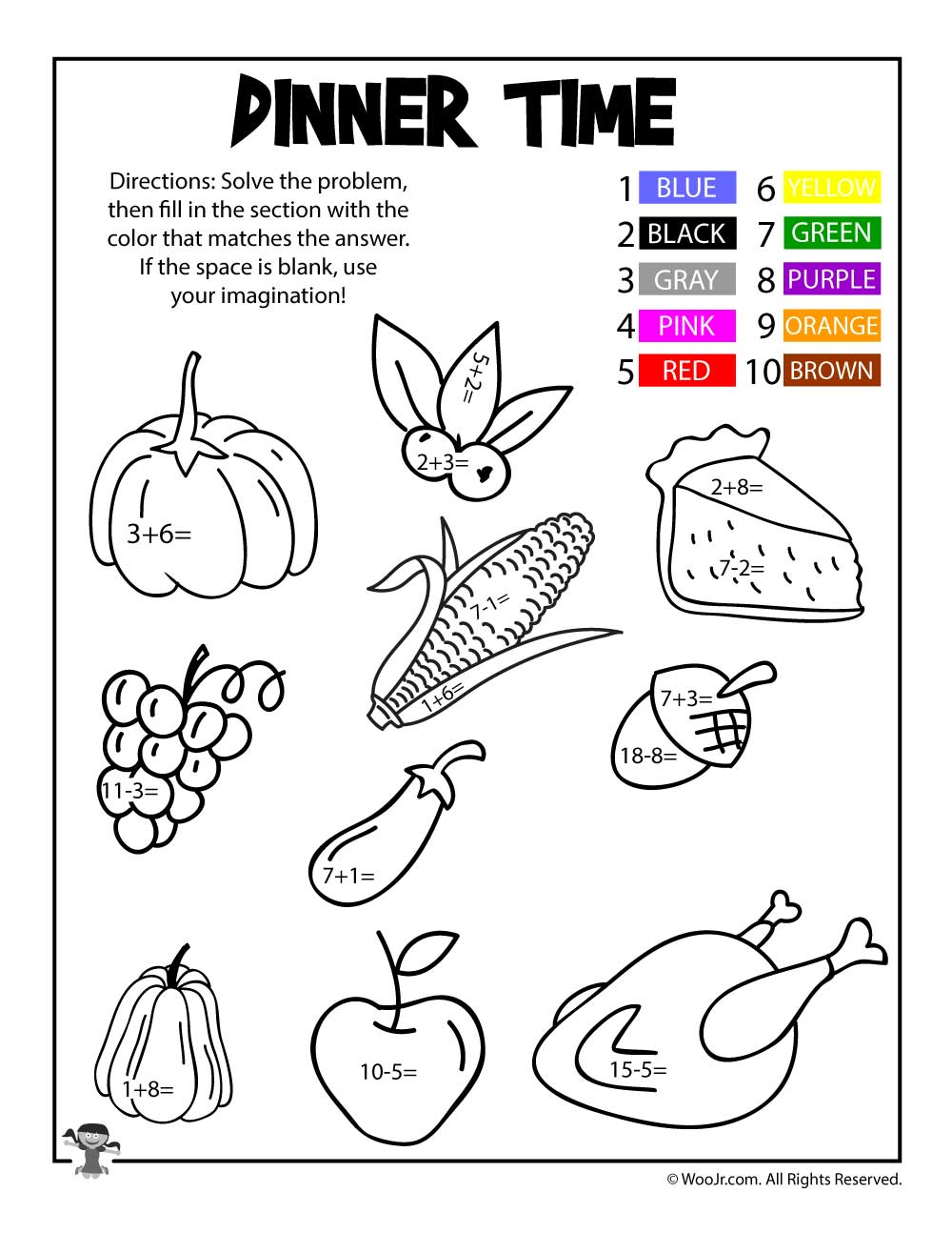 Thanksgiving Dinner Math Coloring Page | Woo! Jr. Kids Activities