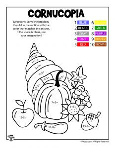 Thanksgiving Math Coloring Worksheets Woo Jr Kids Activities