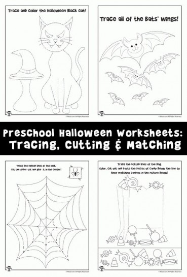 Preschool Halloween Worksheets: Tracing, Cutting & Matching
