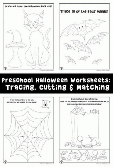 Preschool Halloween Worksheets: Tracing, Cutting & Matching