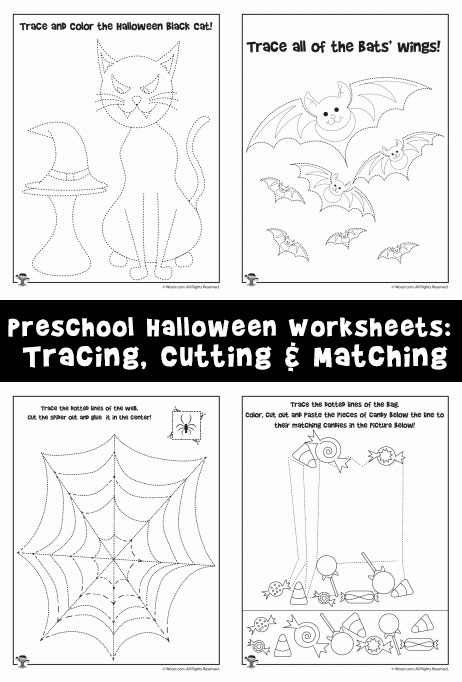 Preschool Worksheets for Halloween: Tracing, Cutting and Matching
