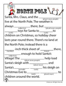 North Pole Parts of Speech Worksheet