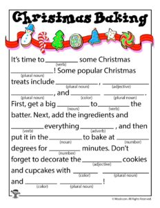 Christmas Baking Fill in the Blanks Stories
