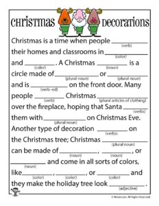 Christmas Decorations Fill In Word Game